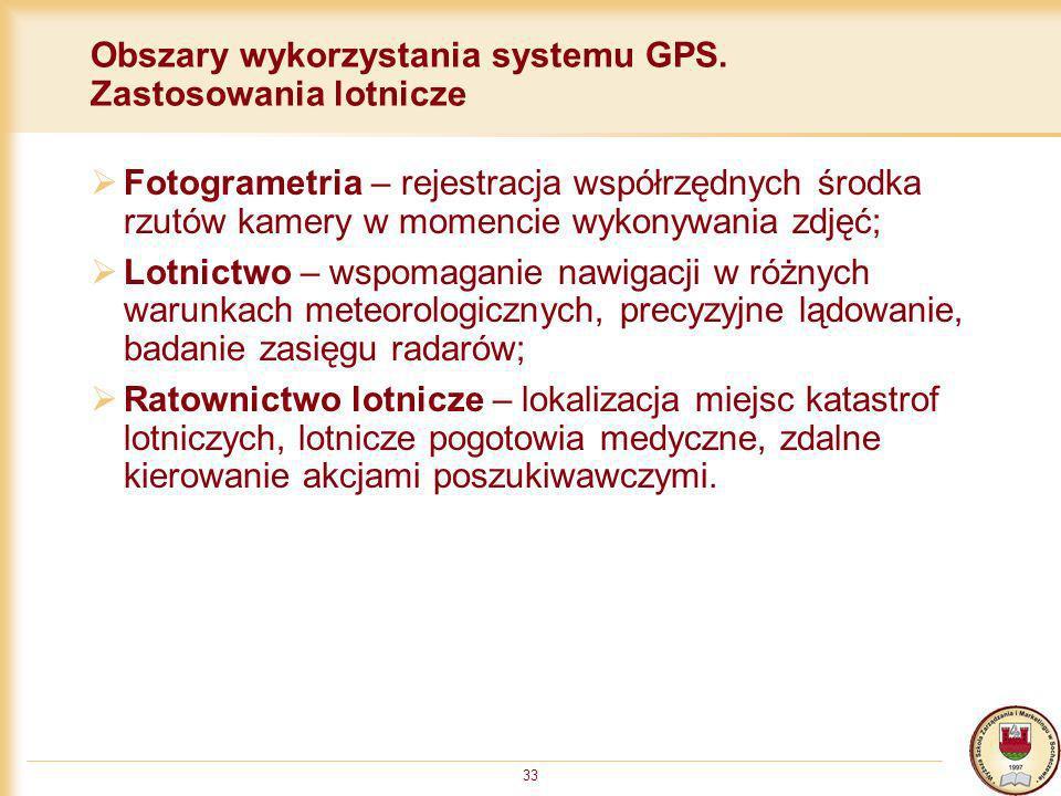 33 Obszary wykorzystania systemu GPS. Zastosowania lotnicze Fotogrametria – rejestracja współrzędnych środka rzutów kamery w momencie wykonywania zdję