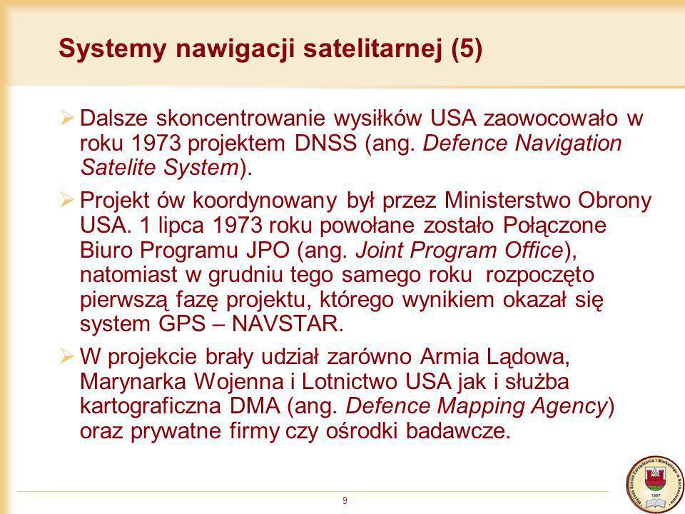 9 Systemy nawigacji satelitarnej (5) Dalsze skoncentrowanie wysiłków USA zaowocowało w roku 1973 projektem DNSS (ang. Defence Navigation Satelite Syst