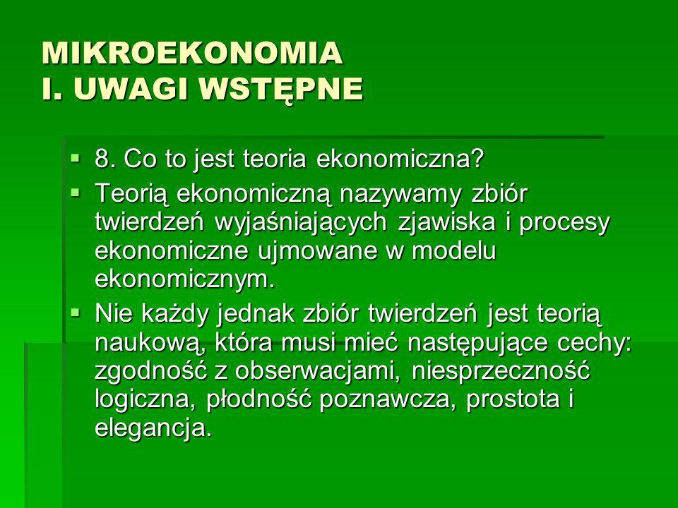 MIKROEKONOMIA I. UWAGI WSTĘPNE 8. Co to jest teoria ekonomiczna? 8. Co to jest teoria ekonomiczna? Teorią ekonomiczną nazywamy zbiór twierdzeń wyjaśni
