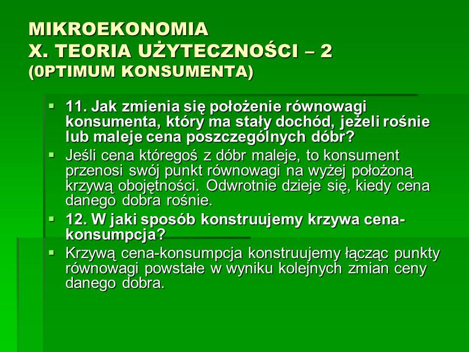 MIKROEKONOMIA X. TEORIA UŻYTECZNOŚCI – 2 (0PTIMUM KONSUMENTA) 11. Jak zmienia się położenie równowagi konsumenta, który ma stały dochód, jeżeli rośnie