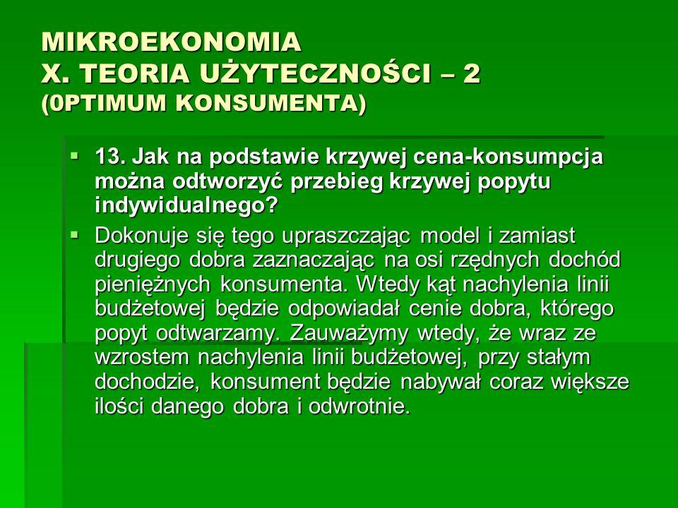 MIKROEKONOMIA X. TEORIA UŻYTECZNOŚCI – 2 (0PTIMUM KONSUMENTA) 13. Jak na podstawie krzywej cena-konsumpcja można odtworzyć przebieg krzywej popytu ind