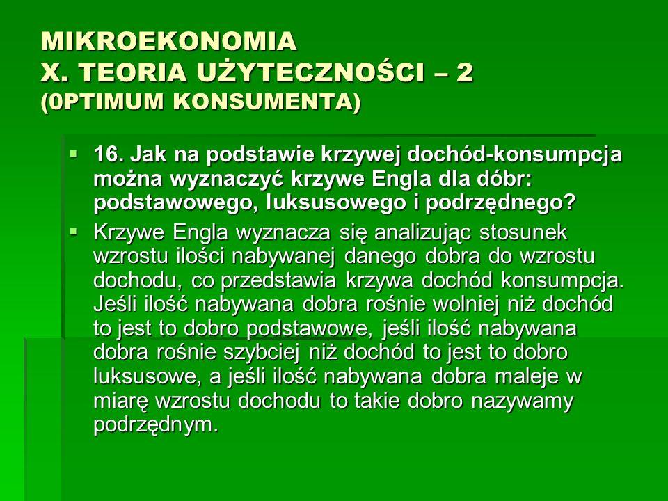 MIKROEKONOMIA X. TEORIA UŻYTECZNOŚCI – 2 (0PTIMUM KONSUMENTA) 16. Jak na podstawie krzywej dochód-konsumpcja można wyznaczyć krzywe Engla dla dóbr: po