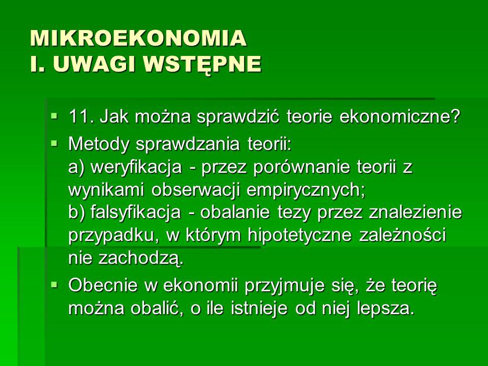 MIKROEKONOMIA I. UWAGI WSTĘPNE 11. Jak można sprawdzić teorie ekonomiczne? 11. Jak można sprawdzić teorie ekonomiczne? Metody sprawdzania teorii: a) w