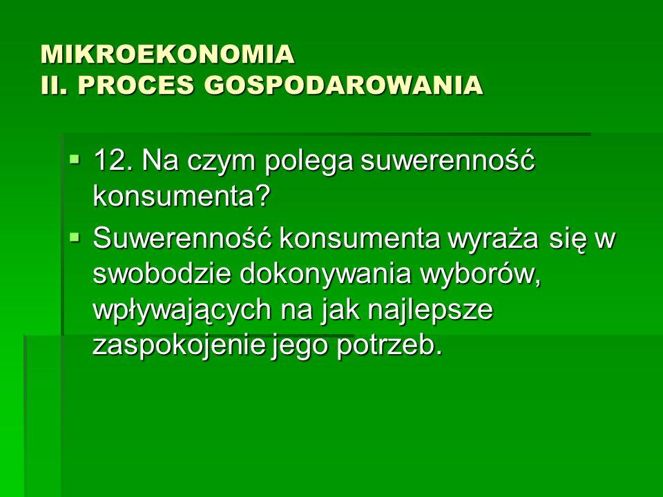 MIKROEKONOMIA II. PROCES GOSPODAROWANIA 12. Na czym polega suwerenność konsumenta? 12. Na czym polega suwerenność konsumenta? Suwerenność konsumenta w