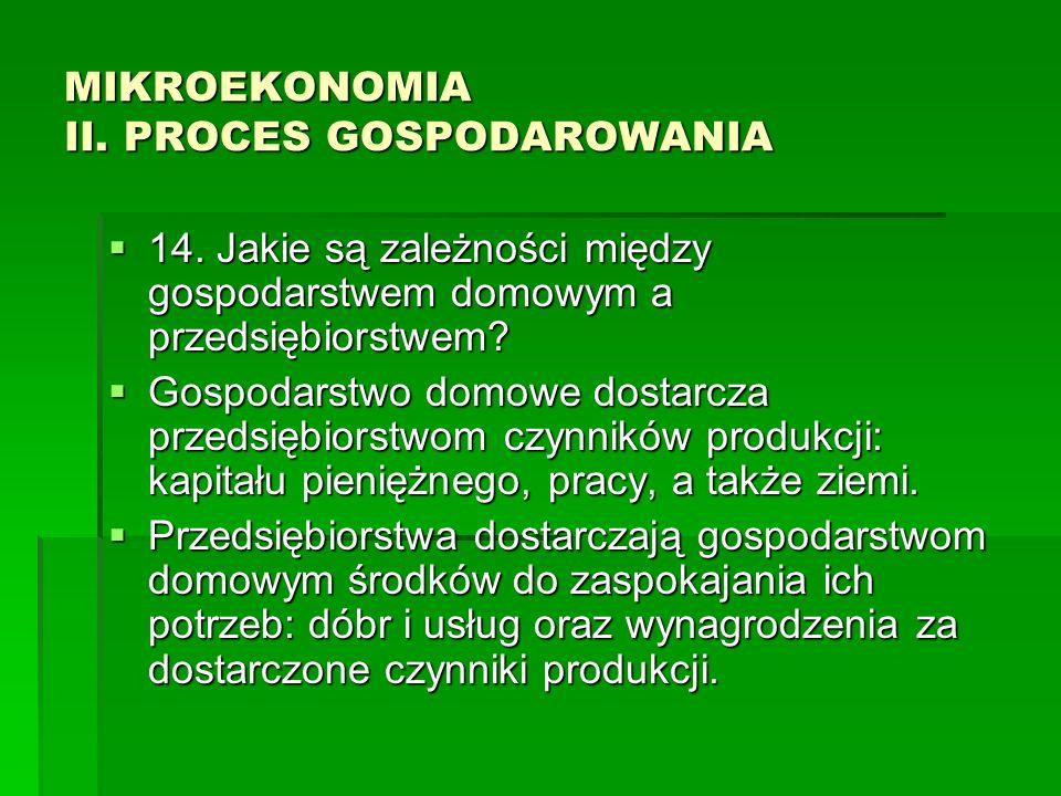 MIKROEKONOMIA II. PROCES GOSPODAROWANIA 14. Jakie są zależności między gospodarstwem domowym a przedsiębiorstwem? 14. Jakie są zależności między gospo