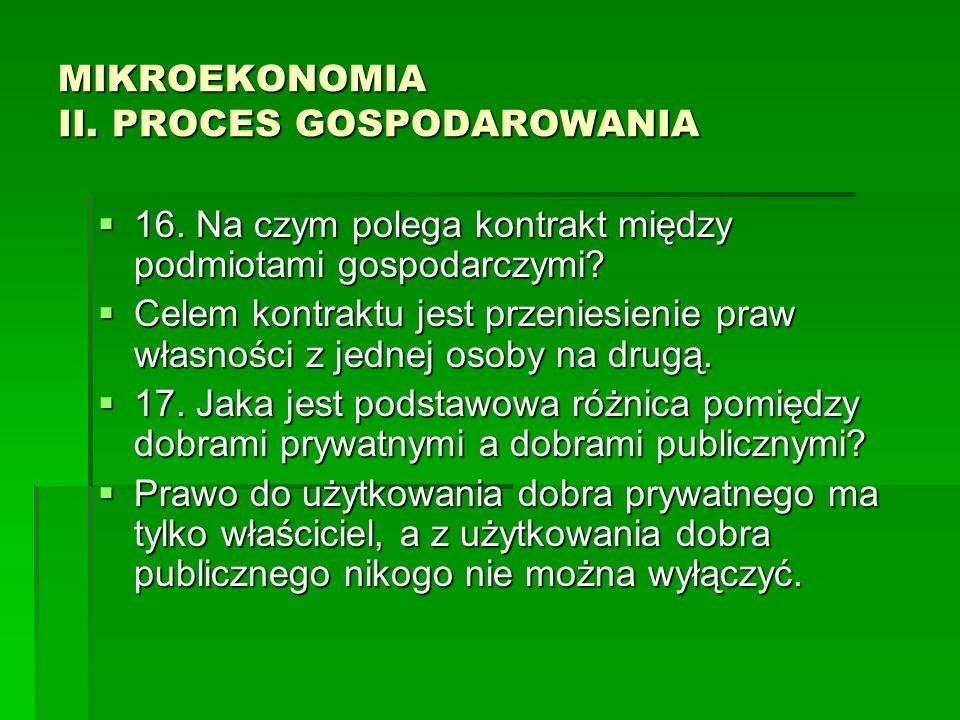 MIKROEKONOMIA II. PROCES GOSPODAROWANIA 16. Na czym polega kontrakt między podmiotami gospodarczymi? 16. Na czym polega kontrakt między podmiotami gos