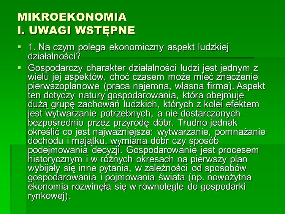 MIKROEKONOMIA I.UWAGI WSTĘPNE 2. Jakie jest pochodzenie nazwy ekonomia.