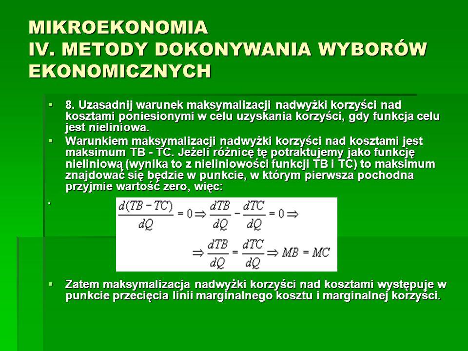 MIKROEKONOMIA IV. METODY DOKONYWANIA WYBORÓW EKONOMICZNYCH 8. Uzasadnij warunek maksymalizacji nadwyżki korzyści nad kosztami poniesionymi w celu uzys