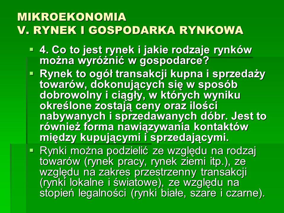 MIKROEKONOMIA V. RYNEK I GOSPODARKA RYNKOWA 4. Co to jest rynek i jakie rodzaje rynków można wyróżnić w gospodarce? 4. Co to jest rynek i jakie rodzaj