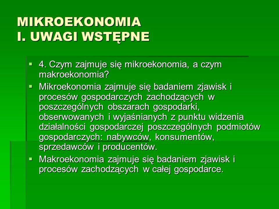 MIKROEKONOMIA I. UWAGI WSTĘPNE 4. Czym zajmuje się mikroekonomia, a czym makroekonomia? 4. Czym zajmuje się mikroekonomia, a czym makroekonomia? Mikro