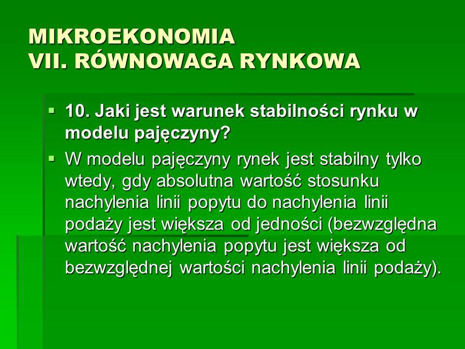 MIKROEKONOMIA VII. RÓWNOWAGA RYNKOWA 10. Jaki jest warunek stabilności rynku w modelu pajęczyny? 10. Jaki jest warunek stabilności rynku w modelu paję
