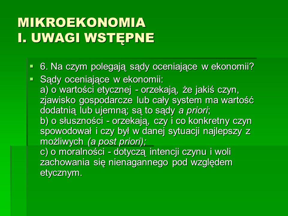 MIKROEKONOMIA I.UWAGI WSTĘPNE 7. Na czym polega metoda indukcyjna, a na czym metoda dedukcyjna.
