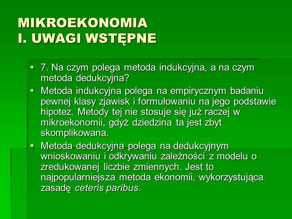 MIKROEKONOMIA I.UWAGI WSTĘPNE 8. Co to jest teoria ekonomiczna.