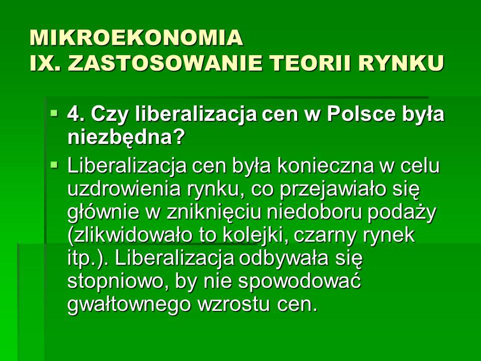 MIKROEKONOMIA IX. ZASTOSOWANIE TEORII RYNKU 4. Czy liberalizacja cen w Polsce była niezbędna? 4. Czy liberalizacja cen w Polsce była niezbędna? Libera