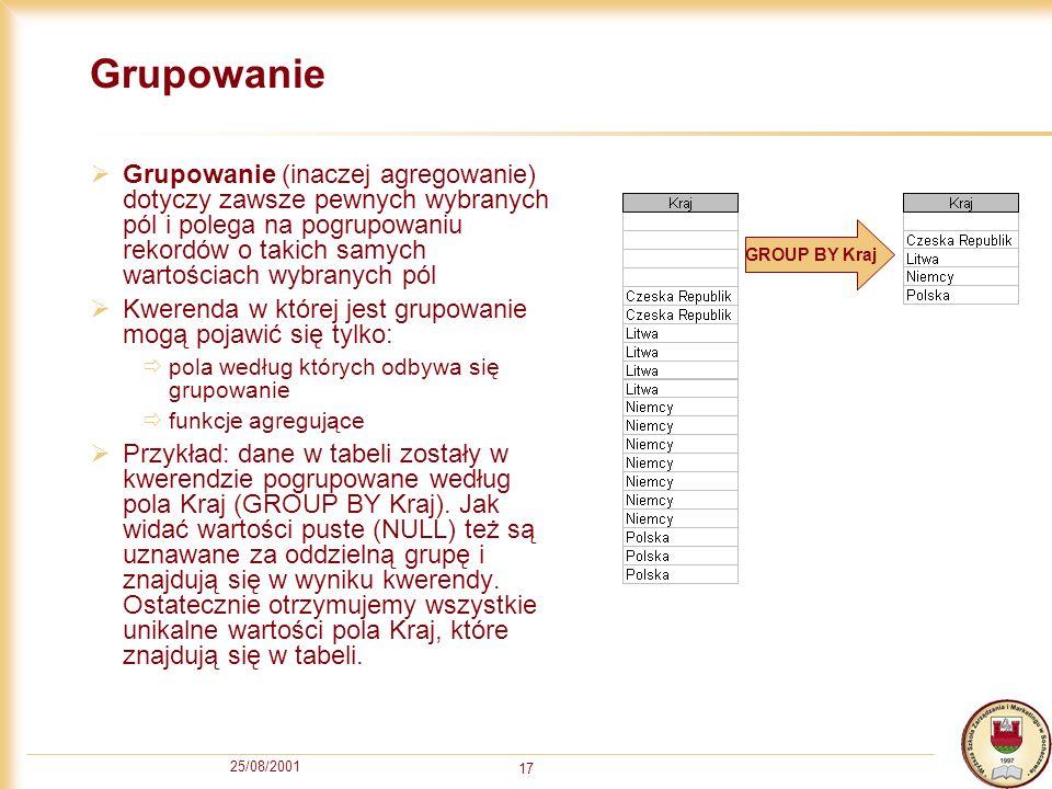 25/08/2001 17 Grupowanie Grupowanie (inaczej agregowanie) dotyczy zawsze pewnych wybranych pól i polega na pogrupowaniu rekordów o takich samych warto