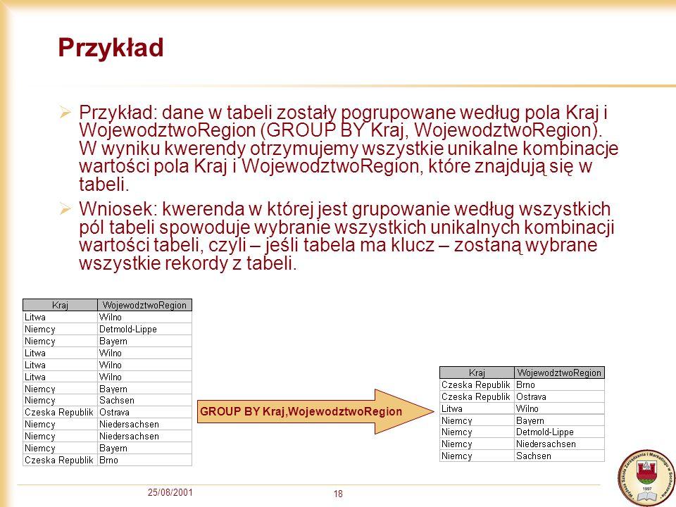 25/08/2001 18 Przykład Przykład: dane w tabeli zostały pogrupowane według pola Kraj i WojewodztwoRegion (GROUP BY Kraj, WojewodztwoRegion). W wyniku k