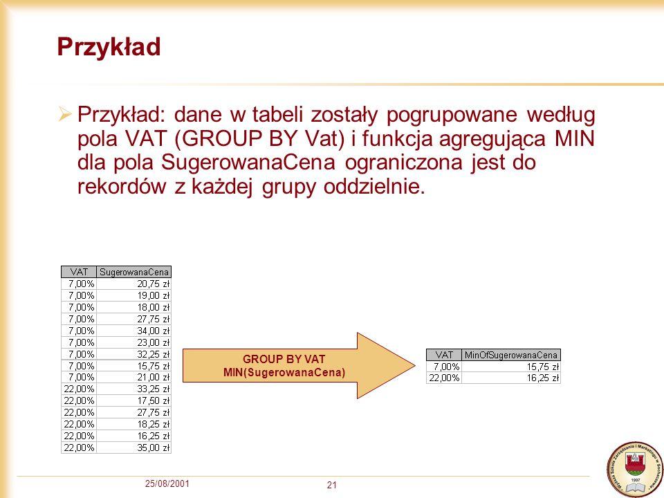 25/08/2001 21 Przykład Przykład: dane w tabeli zostały pogrupowane według pola VAT (GROUP BY Vat) i funkcja agregująca MIN dla pola SugerowanaCena ogr