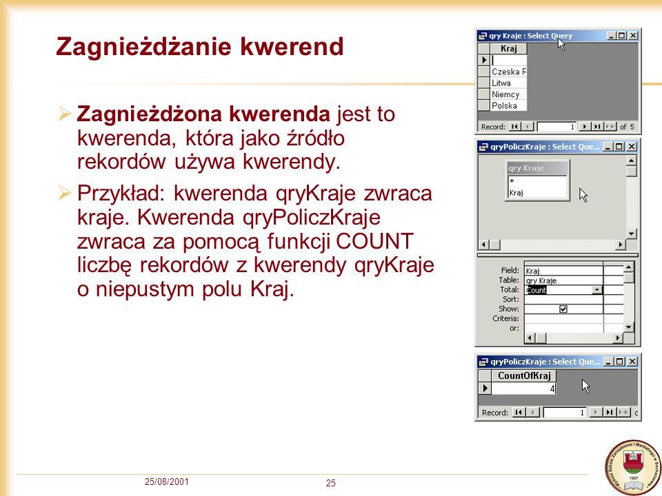 25/08/2001 25 Zagnieżdżanie kwerend Zagnieżdżona kwerenda jest to kwerenda, która jako źródło rekordów używa kwerendy. Przykład: kwerenda qryKraje zwr