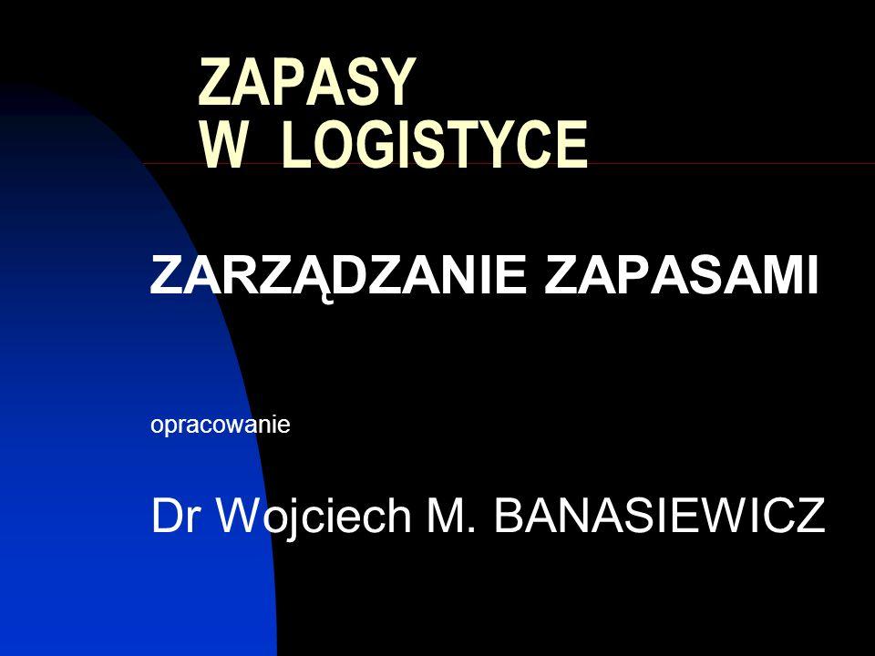 ZAPASY W LOGISTYCE ZARZĄDZANIE ZAPASAMI opracowanie Dr Wojciech M. BANASIEWICZ
