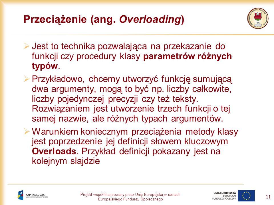 Projekt współfinansowany przez Unię Europejską w ramach Europejskiego Funduszu Społecznego 11 Przeciążenie (ang. Overloading) Jest to technika pozwala
