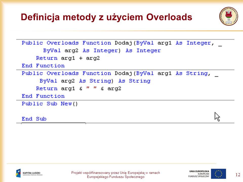 Projekt współfinansowany przez Unię Europejską w ramach Europejskiego Funduszu Społecznego 12 Definicja metody z użyciem Overloads
