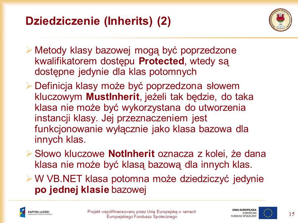 Projekt współfinansowany przez Unię Europejską w ramach Europejskiego Funduszu Społecznego 15 Dziedziczenie (Inherits) (2) Metody klasy bazowej mogą b