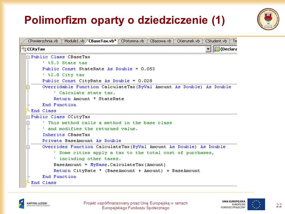 Projekt współfinansowany przez Unię Europejską w ramach Europejskiego Funduszu Społecznego 22 Polimorfizm oparty o dziedziczenie (1)