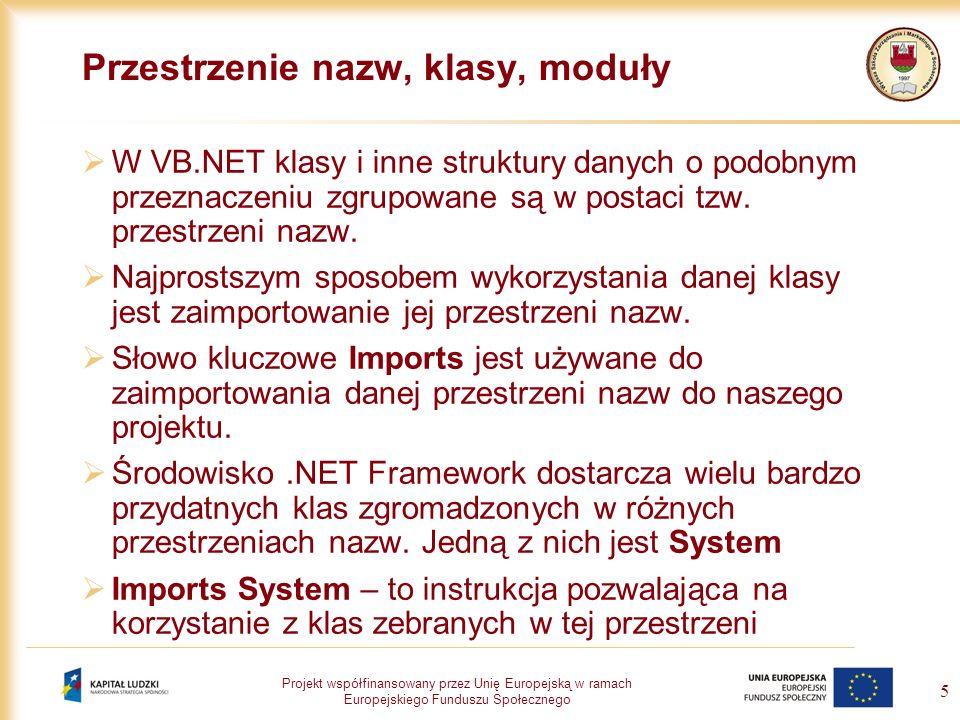 Projekt współfinansowany przez Unię Europejską w ramach Europejskiego Funduszu Społecznego 5 Przestrzenie nazw, klasy, moduły W VB.NET klasy i inne st