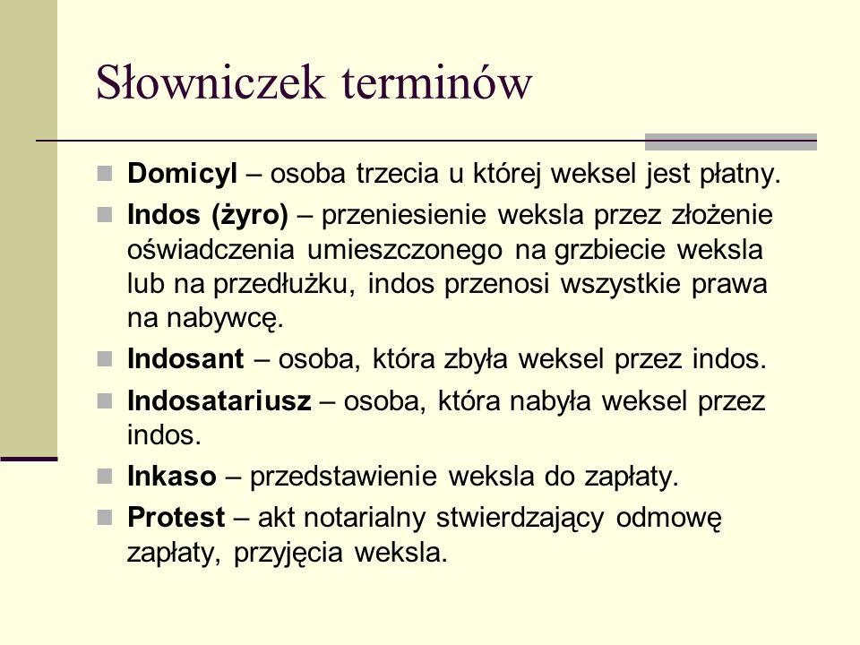 Słowniczek terminów Domicyl – osoba trzecia u której weksel jest płatny. Indos (żyro) – przeniesienie weksla przez złożenie oświadczenia umieszczonego