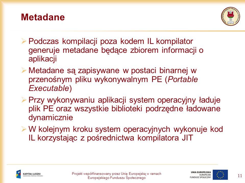 Projekt współfinansowany przez Unię Europejską w ramach Europejskiego Funduszu Społecznego 11 Metadane Podczas kompilacji poza kodem IL kompilator gen