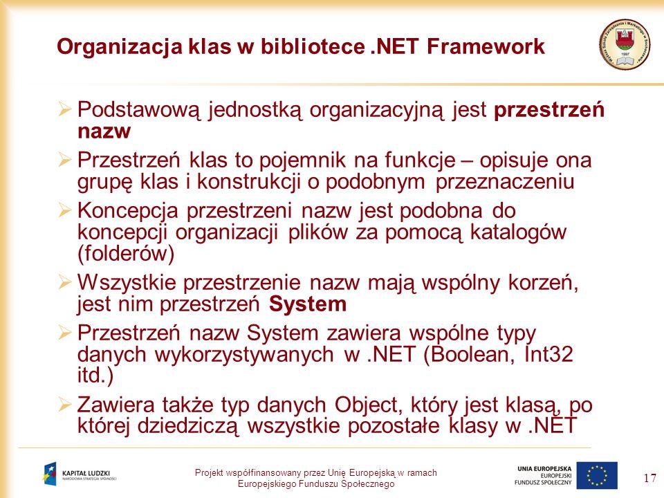 Projekt współfinansowany przez Unię Europejską w ramach Europejskiego Funduszu Społecznego 17 Organizacja klas w bibliotece.NET Framework Podstawową j