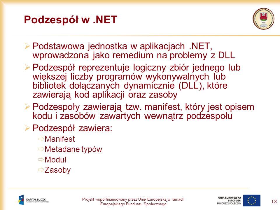 Projekt współfinansowany przez Unię Europejską w ramach Europejskiego Funduszu Społecznego 18 Podzespół w.NET Podstawowa jednostka w aplikacjach.NET,