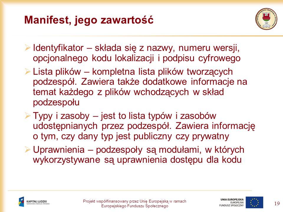 Projekt współfinansowany przez Unię Europejską w ramach Europejskiego Funduszu Społecznego 19 Manifest, jego zawartość Identyfikator – składa się z na