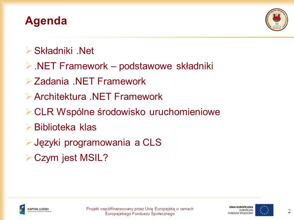 Projekt współfinansowany przez Unię Europejską w ramach Europejskiego Funduszu Społecznego 2 Agenda Składniki.Net.NET Framework – podstawowe składniki