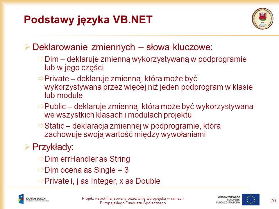 Projekt współfinansowany przez Unię Europejską w ramach Europejskiego Funduszu Społecznego 20 Podstawy języka VB.NET Deklarowanie zmiennych – słowa kl