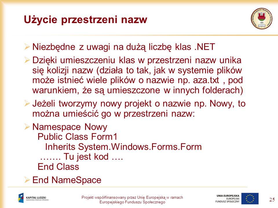 Projekt współfinansowany przez Unię Europejską w ramach Europejskiego Funduszu Społecznego 25 Użycie przestrzeni nazw Niezbędne z uwagi na dużą liczbę