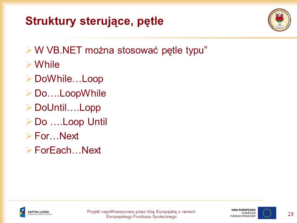 Projekt współfinansowany przez Unię Europejską w ramach Europejskiego Funduszu Społecznego 28 Struktury sterujące, pętle W VB.NET można stosować pętle