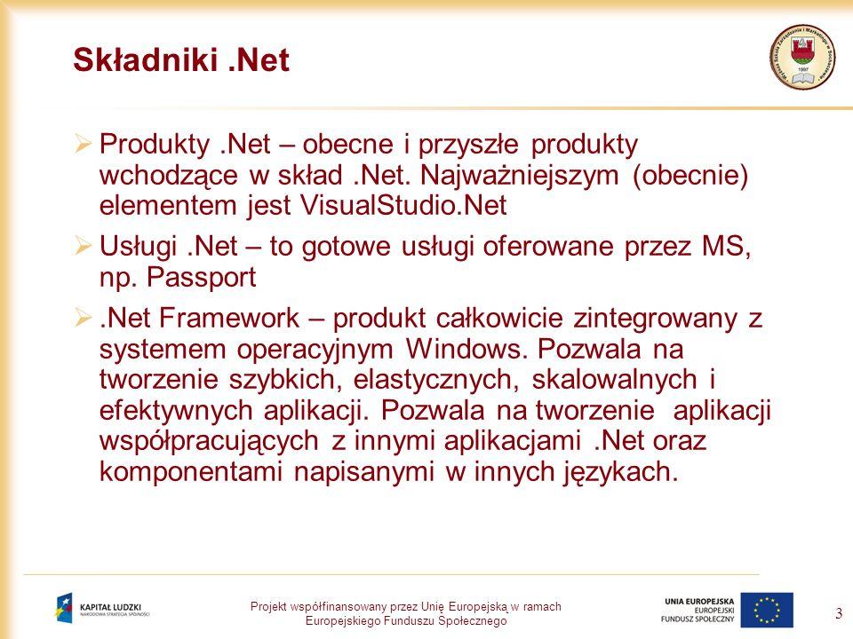 Projekt współfinansowany przez Unię Europejską w ramach Europejskiego Funduszu Społecznego 4.NET Framework – podstawowe składniki Biblioteka klas.NET Framework – zbiór funkcji, obiektów, właściwosci i metod do wykorzystania w dowolnym języku.Net.