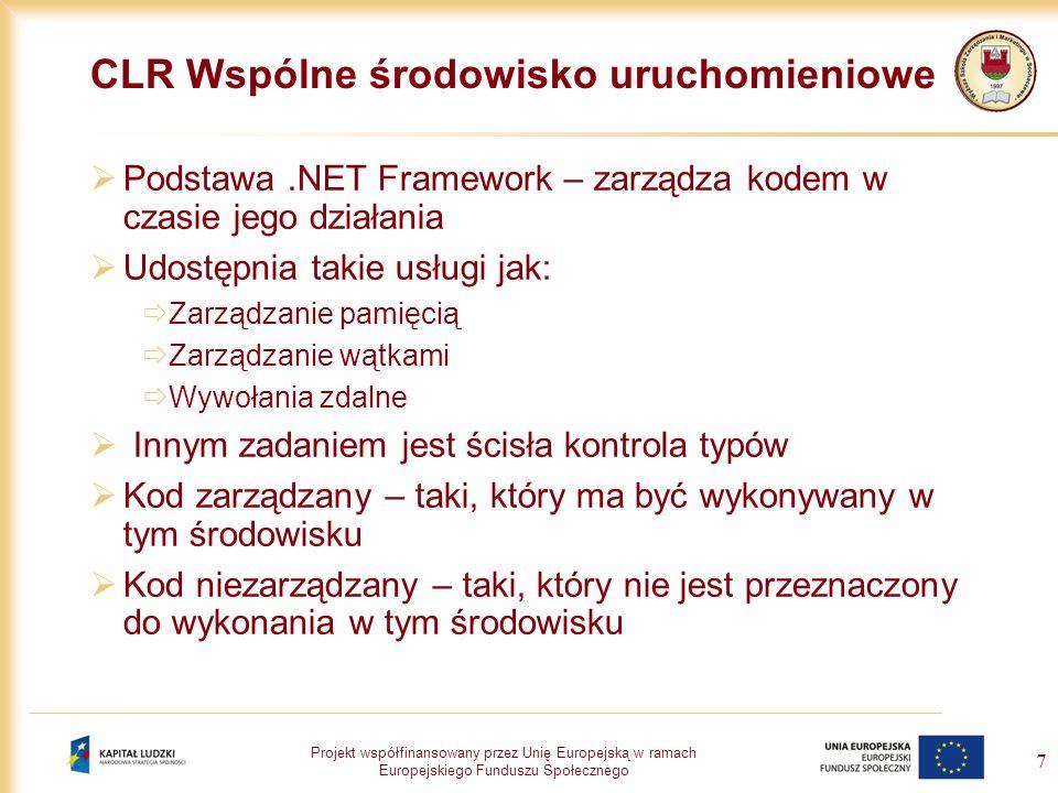 Projekt współfinansowany przez Unię Europejską w ramach Europejskiego Funduszu Społecznego 8 Biblioteka klas Jest integralną częścią.NET Framework, zawiera klasy lub typy przeznaczone do wielokrotnego użycia wykorzystywane do projektowania aplikacji różnych typów: Aplikacji wiersza poleceń Aplikacji z graficznym interfejsem użytkownika korzystających z: Windows Forms ASP.NET Web Forms Usług sieciowych XML