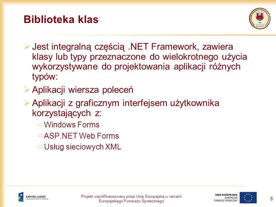 Projekt współfinansowany przez Unię Europejską w ramach Europejskiego Funduszu Społecznego 8 Biblioteka klas Jest integralną częścią.NET Framework, za