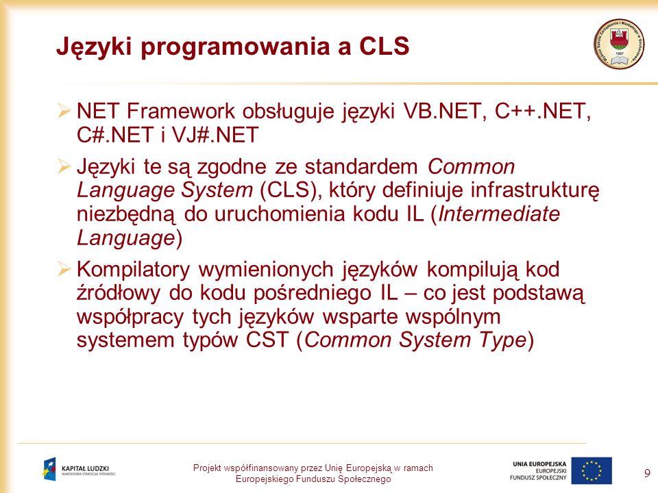 Projekt współfinansowany przez Unię Europejską w ramach Europejskiego Funduszu Społecznego 20 Podstawy języka VB.NET Deklarowanie zmiennych – słowa kluczowe: Dim – deklaruje zmienną wykorzystywaną w podprogramie lub w jego części Private – deklaruje zmienną, która może być wykorzystywana przez więcej niż jeden podprogram w klasie lub module Public – deklaruje zmienną, która może być wykorzystywana we wszystkich klasach i modułach projektu Static – deklaracja zmiennej w podprogramie, która zachowuje swoją wartość między wywołaniami Przykłady: Dim errHandler as String Dim ocena as Single = 3 Private i, j as Integer, x as Double