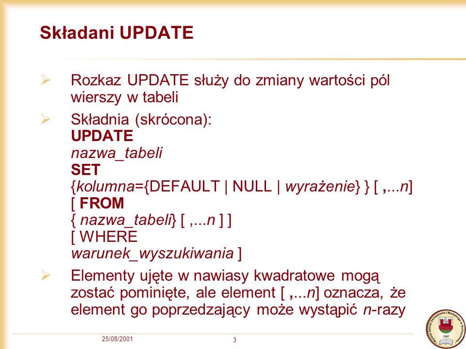 25/08/2001 3 Składani UPDATE Rozkaz UPDATE służy do zmiany wartości pól wierszy w tabeli Składnia (skrócona): UPDATE nazwa_tabeli SET {kolumna={DEFAULT | NULL | wyrażenie} } [,...n] [ FROM { nazwa_tabeli} [,...n ] ] [ WHERE warunek_wyszukiwania ] Elementy ujęte w nawiasy kwadratowe mogą zostać pominięte, ale element [,...n] oznacza, że element go poprzedzający może wystąpić n-razy