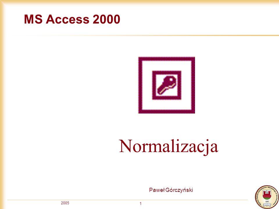 2005 1 MS Access 2000 Paweł Górczyński Normalizacja