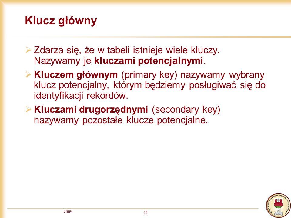 2005 11 Klucz główny Zdarza się, że w tabeli istnieje wiele kluczy. Nazywamy je kluczami potencjalnymi. Kluczem głównym (primary key) nazywamy wybrany