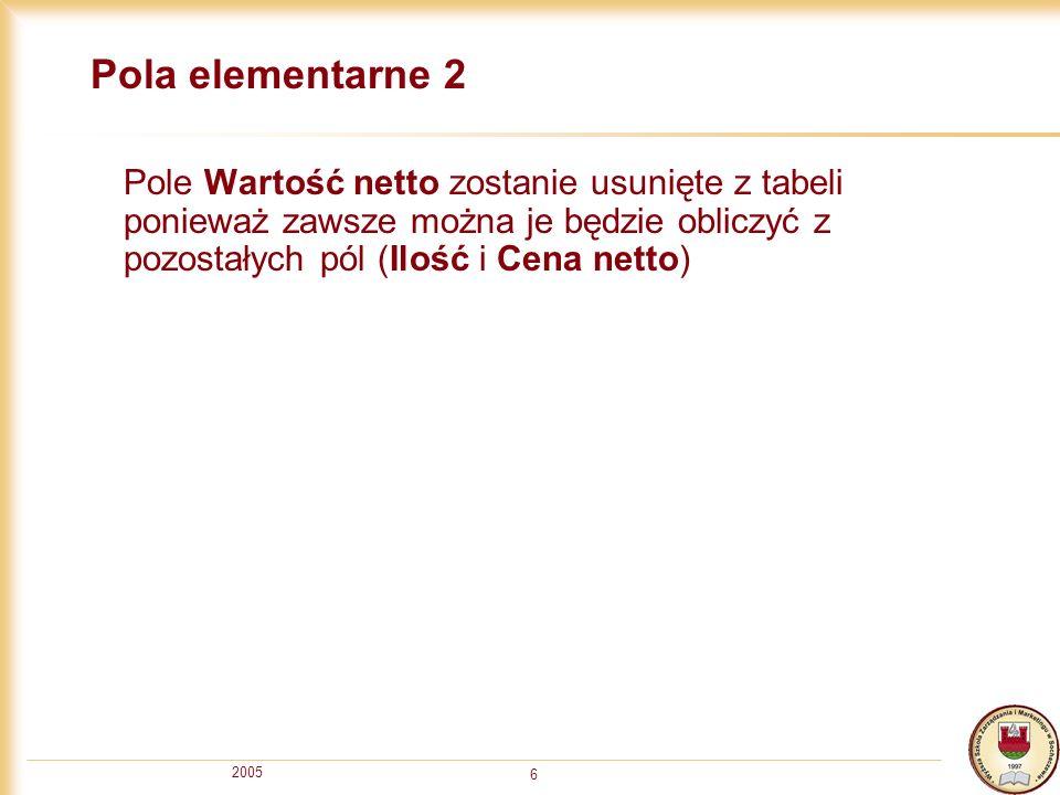 2005 6 Pola elementarne 2 Pole Wartość netto zostanie usunięte z tabeli ponieważ zawsze można je będzie obliczyć z pozostałych pól (Ilość i Cena netto