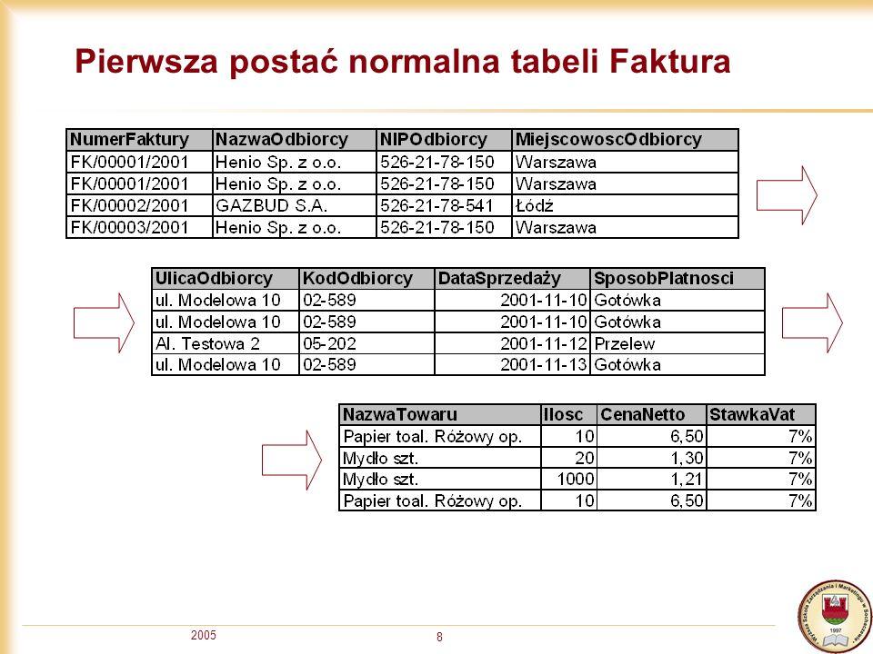 2005 8 Pierwsza postać normalna tabeli Faktura