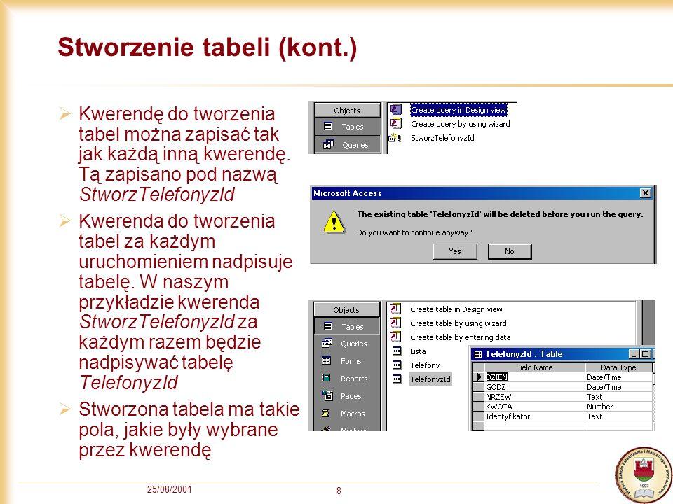 25/08/2001 9 Stworzenie tabeli – Instrukcja SQL Kod SQL kwerendy do tworzenia tabel odpowiada instrukcji SELECT...