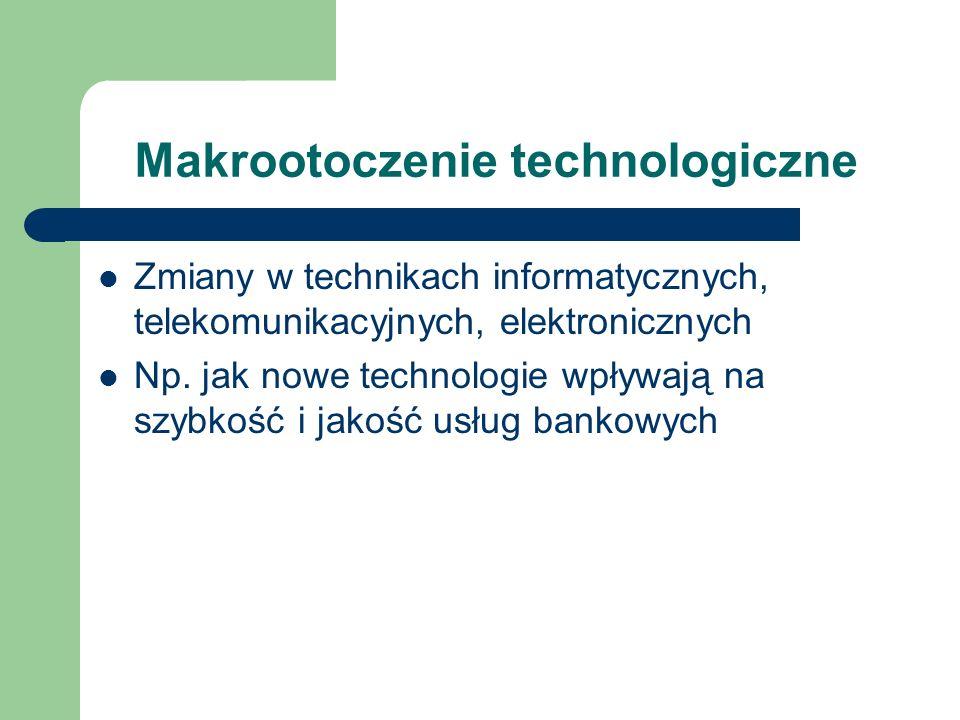 Makrootoczenie technologiczne Zmiany w technikach informatycznych, telekomunikacyjnych, elektronicznych Np. jak nowe technologie wpływają na szybkość