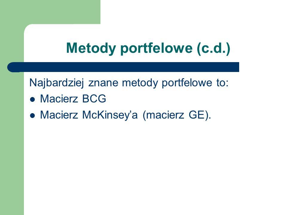 Metody portfelowe (c.d.) Najbardziej znane metody portfelowe to: Macierz BCG Macierz McKinseya (macierz GE).