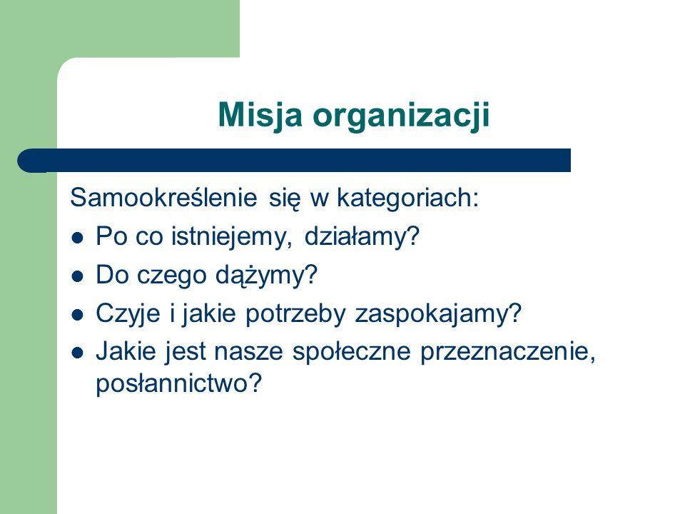 Misja organizacji Samookreślenie się w kategoriach: Po co istniejemy, działamy? Do czego dążymy? Czyje i jakie potrzeby zaspokajamy? Jakie jest nasze